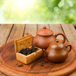Chinese tea with traditional tea pots on wooden table