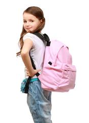 portrait of a schoolgirl looking back over her shoulder