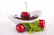 cherry with chocolate sauce