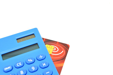calculator and credit card for calculating the bills