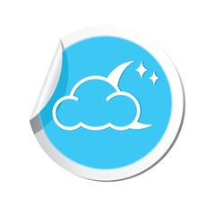 Weather forecast clouds with moon and stars icon