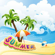 Summer beach with palm trees and umbrella