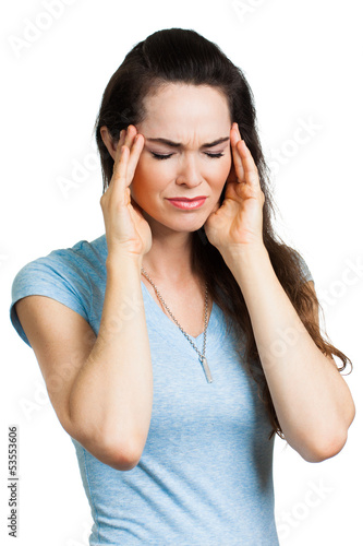 Woman suffering from migraine.