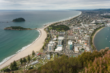 aerial view of Bay of Plenty with Tauranga town