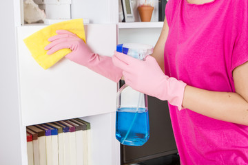 female hands cleaning home