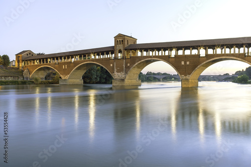 Pavia- covered bridge on Ticino river night view color image