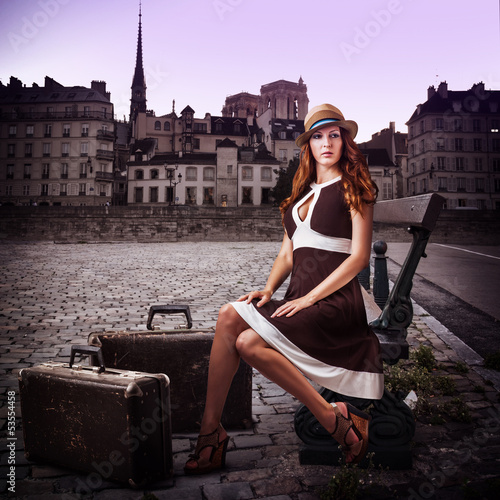 Young sexy woman traveler
