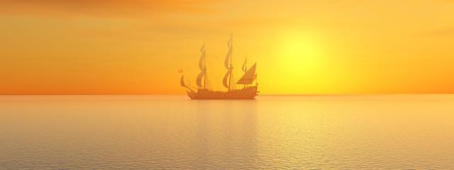 Segelschiff vor einem Sonnenuntergang