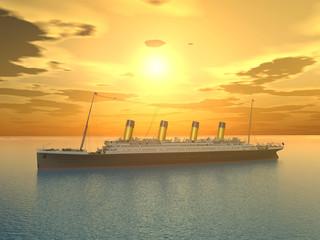 Ozeandampfer vor Sonnenuntergang