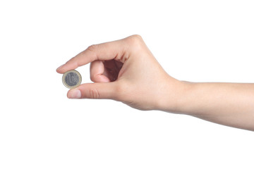 Woman hand showing an euro coin