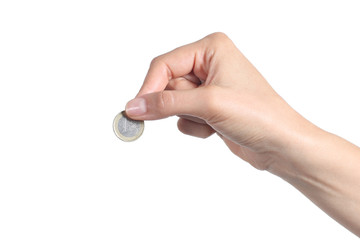 Woman hand putting an euro coin