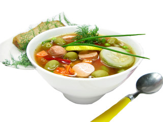 vegetable soup with sausage and olives