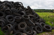 Farmers tyre dump in the countryside