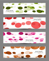 Abstract four colorful circle headers design vector
