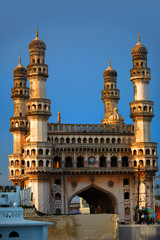 Historic Charminar monument against blue sky background