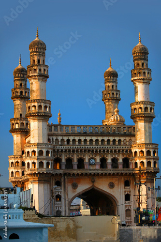 Historic Charminar monument against blue sky background