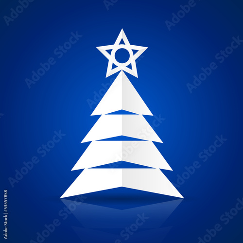 Paper Christmas tree. Vector Illustration