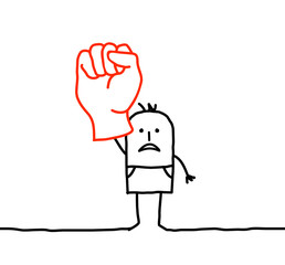 man raising fist