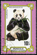 stamp printed in Mongolia shows the giant panda eating bamboo