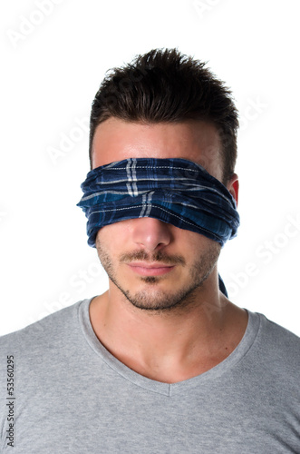 Headshot of blindfolded young man