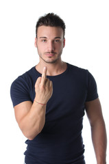 Young man showing middle finger to say fuck