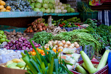 Fresh vegetables and fruits on market