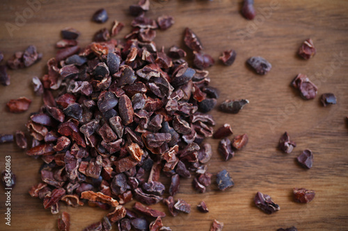 Cacao or cocoa raw beans, crushed to nibs, superfood