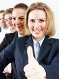 uccessful business people are in line, show thumb up