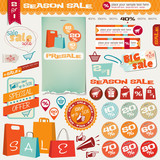 Set of different Sale buttons, labels, icons