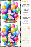 Find the differences visual puzzle - little circus clown poster