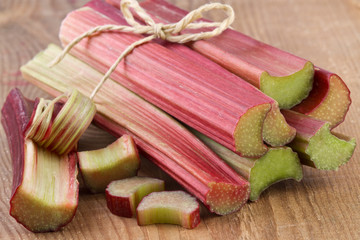 rhubarb on wooden background