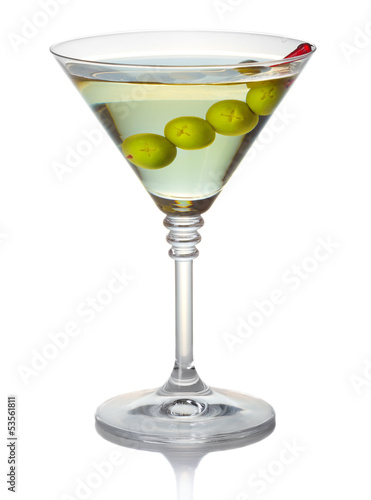 Olive martini cocktail isolated on white