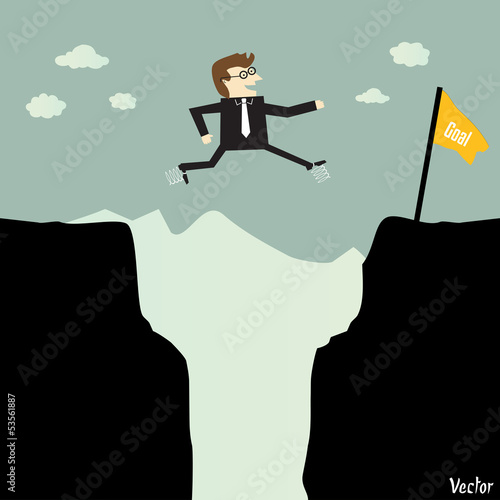 Businessman jumping with spring to another for a high target