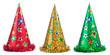 Set of shiny party hats on white background - 53562099