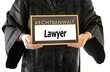 Lawyer in Robe with sign