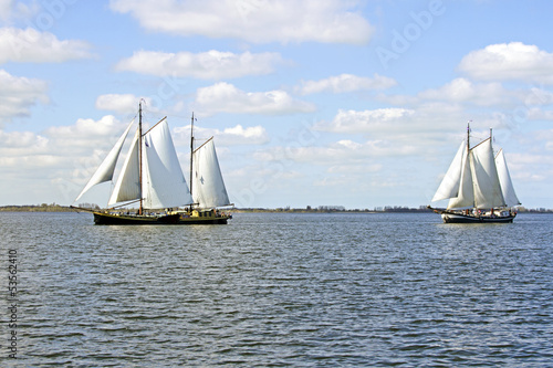 Traditional sailing ships on the IJsselmeer in the Netherlands