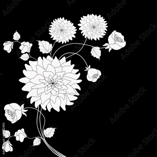 Deurstickers Bloemen zwart wit Floral background
