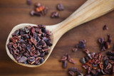 Cacao raw bean nibs or cocoa crushed and roasted solids