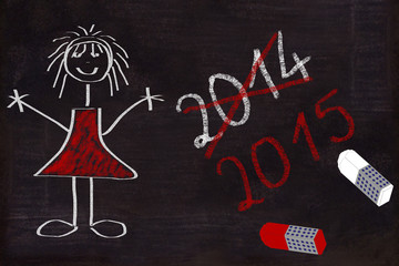 Schultafel, Jahreswechsel 2014 - 2015, blackboard,chalkboard