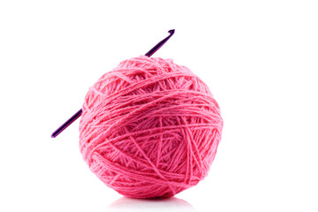 Pink yarn and crotchet hook