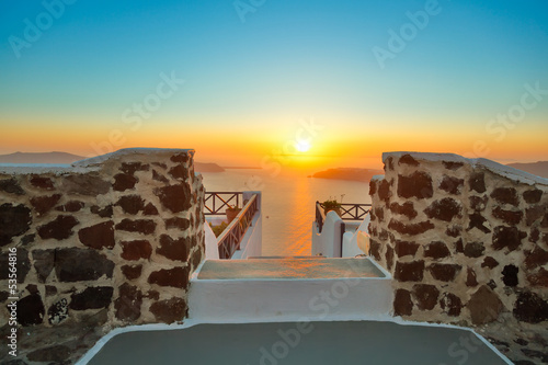 Greece santorini island in cyclades,the most famous sunset of th