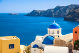 Fototapeta Greece Santorini island in Cyclades,wide view of white orthodox