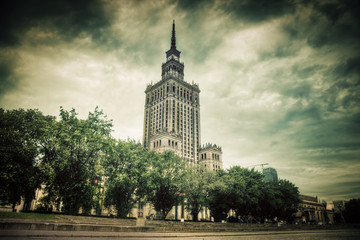 The Palace of Culture and Science, Warsaw, Poland. Retro, vintag