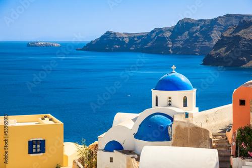 Staande foto Athene Greece Santorini island in Cyclades,wide view of white orthodox