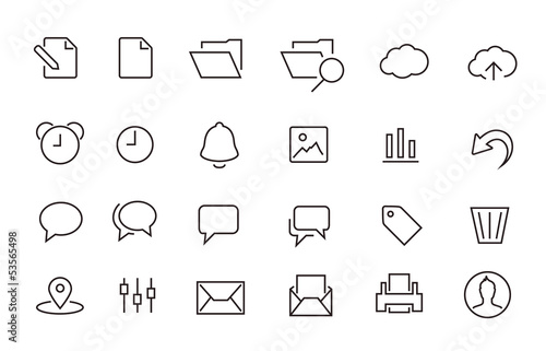 Simple Stroked document icon set