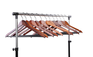 wooden clothes hangers isolated