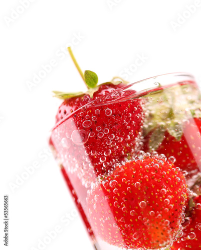 Fresh Strawberry in Mineral water with boobles