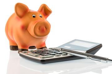 Rotstift, Sparschwein und Taschenrechner