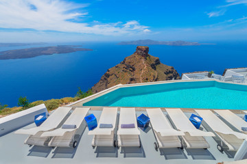 Greece famous santorini island in Cyclades, panoramic sea view o