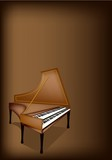 A Retro Harpsichord on Dark Brown Background